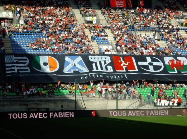 The famous 'Roazhon Celtic Kop' end at Rennes FC.