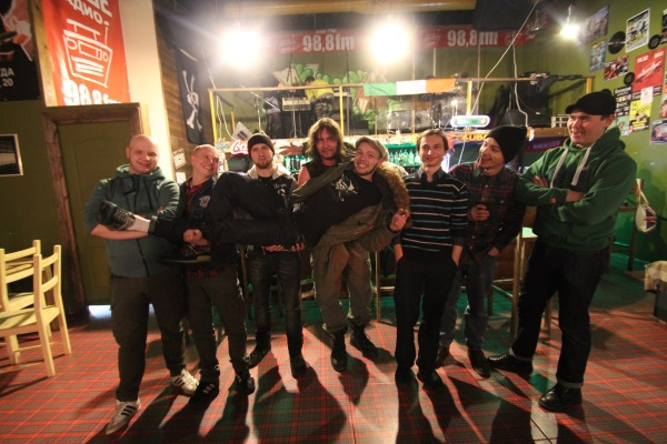 Middle Class Bastards Left to right: Roman - mandolin, Denis - bass, Alexander - guitar, McGregor - bagpipe, Vitaliy - drums, Dmitry - trumpet, Andrew - vocal, Kirill - naked balls!