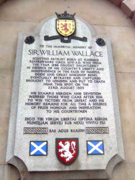 memorial to William Wallace on the north wall of St. Bart's Hospital in London.