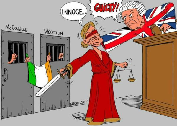 Picture by cartoonist Carlos Latuff for the Craigavon Two campaign