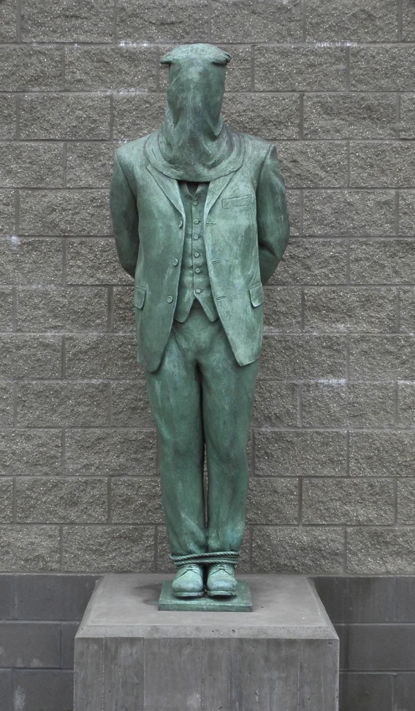 Molly Maguires statue by Zenos Frudrakis in Molly Maguires Memorial Park, Mahanoy City, Pennsylvania, USA